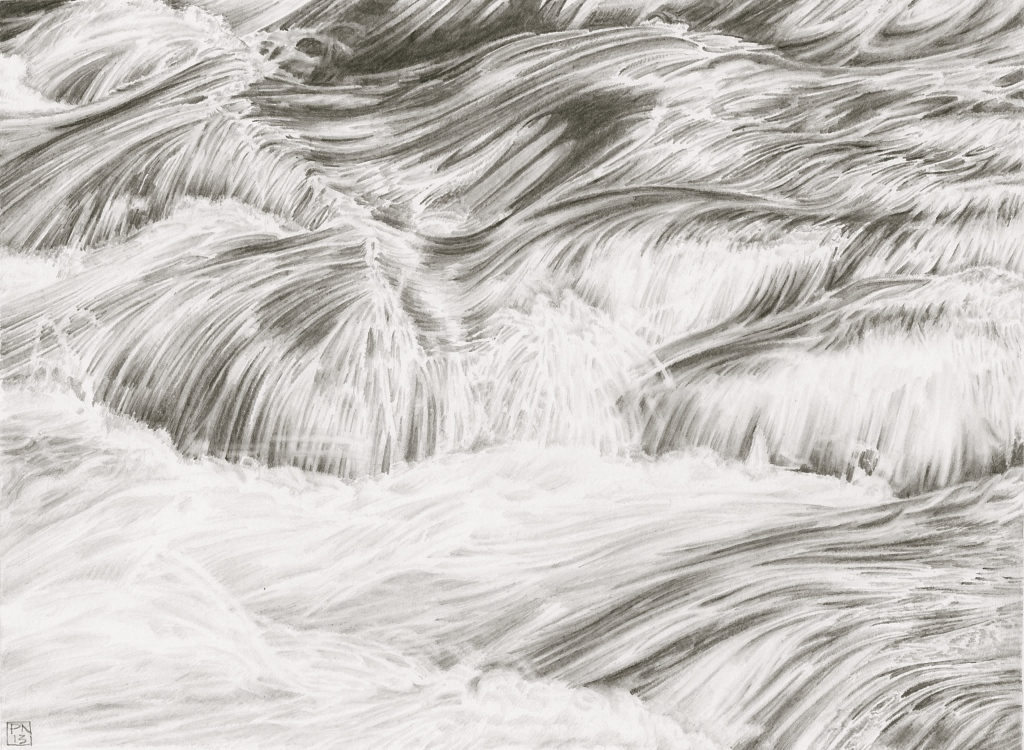 Water/Flow/River/Rapids/Dart/Newbridge/Dartmoor/Devon/NPA/Drawing/Graphite/Pencil/Nature