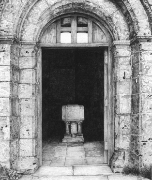 font/norman/chapel/church/arch/purbeck/dorest/headland/worthmatravers/dorset/drawing/graphite/pencil