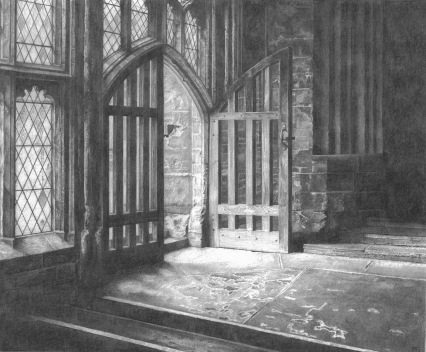 wells/cathedral/cloister/light/tone/contrast/drama/medieval/drawing/pencil/graphite/mendip/somerset