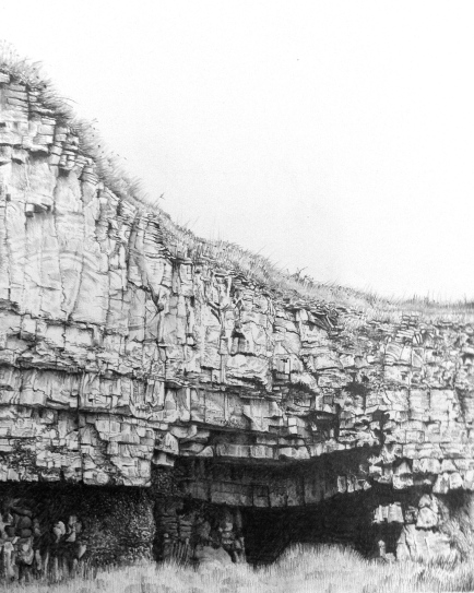 Cave/quarry/winspit/purbeck/jurassiccoast/worthmatravers/staldhelmshead/pencil/drawing/graphite/nature/coast/southwestcoastpath