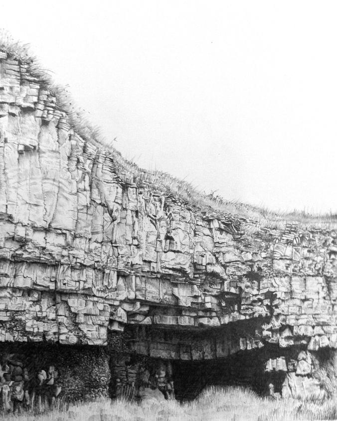 Cave/quarry/winspit/purbeck/jurassiccoast/worthmatravers/staldhelmshead/pencil/drawing/graphite/nature/coast/southwestcoastpath