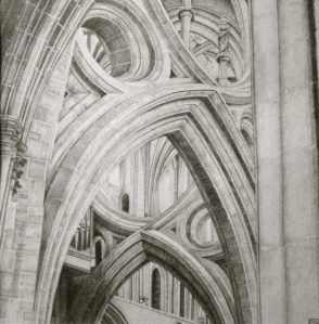Scissor Arches/Wells/cathedral/architecture/medieval/stone/pencil/drawing/graphite/somerset/blackandwhite/mendip