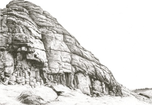 Haytor/Tor/Dartmoor/granite/climbing/moor/devon/graphite/pencil/drawing/nature/blackandwhite