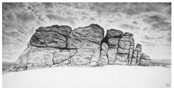 Haytor/Dartmoor/Devon/NationPark/nature/granite/tor/moor/graphite/pencil/drawing/blackandwhite