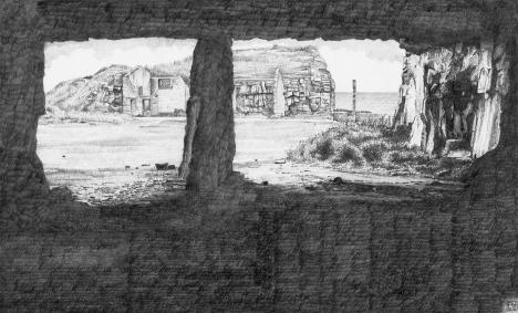 Winspit/worthmatravers/purbeck/jurassiccoast/stone/quarry/dorset/drawing/pencil/graphite